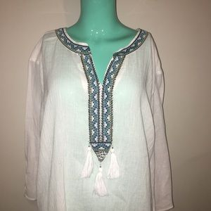 Catherine's Aztec Trim Beaded Tassel Cotton Tunic